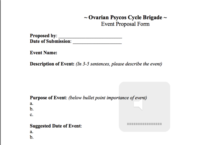 Ovarian Psycos Event Proposal